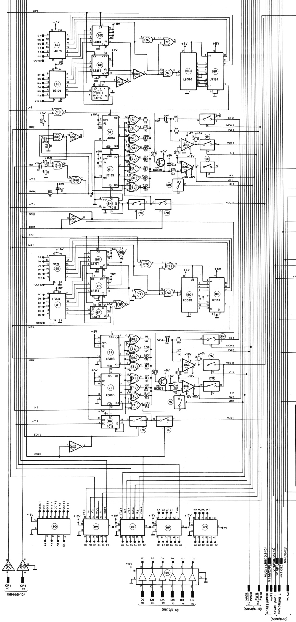 Muff Wiggler View Topic Elka Synthex Is Back Schematic Wiring Diagrams Compared To Quotladderquot On The Second Now We Have Vco1 Vco2 Going Through A Series Of 4066 Switches Which Look Suspiciously Like 4 Bit Dac Ladder